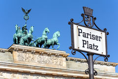 Pariser Platz, Brandenburg gate, Berlin. Pariser Platz sign, Brandenburg gate, Berlin royalty free stock images