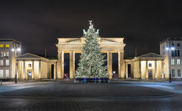 Pariser Platz and Brandenburg Gate in Berlin with Christmas tree stock photos