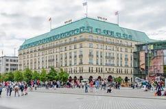 Pariser Platz with Hotel Adlon Kempinski. Berlin, Germany - August 14, 2016: View of Pariser Platz, a square in the centre of Berlin, with Hotel Adlon Kempinski Royalty Free Stock Photo