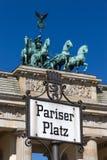 Pariser Platz sign Royalty Free Stock Photos