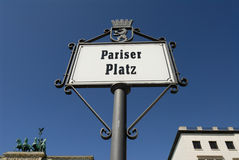 Pariser Platz sign Royalty Free Stock Image