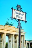 Pariser Platz sign in Berlin, Germany. In the morning stock image