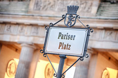 The Pariser Platz sign before the Brandenburg gate Stock Images