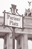Pariser Platz Square Street Sign and Brandenburg Gate; Berlin Stock Photography