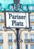 Pariser Platz street sign in Berlin, Germany Stock Photography