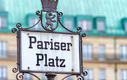 Pariser Platz street sign in Berlin, Germany Royalty Free Stock Photography