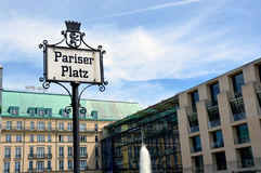 Pariser Platz street sign in Berlin, Germany Royalty Free Stock Photos
