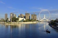 Pariserhjul för Tianjin stadsLiggande-Tianjin öga Arkivfoto