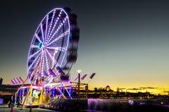 Pariserhjul på Levis Quebec Kanada på solnedgången royaltyfria foton
