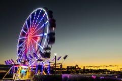 Pariserhjul på Levis Quebec Kanada på solnedgången arkivbilder