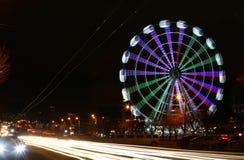 Pariserhjul på natten royaltyfri foto