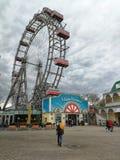 Pariserhjulen i Prateren parkerar, Wien, Österrike royaltyfria foton