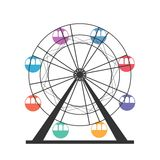 Pariserhjulsymbol Karneval Funfairkarusell hjul för vektor för park för munterhetferrisnatt Royaltyfri Foto