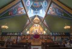 Ben Lomond, California - May 24, 2018: Interior of Saints Peter and Paul Antiochian Orthodox Church. Parish of the Antiochian Orthodox Christian Archdiocese of Royalty Free Stock Photo