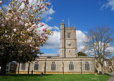 Parish church in Axminster, Devon. Axminster is a market town and civil parish on the eastern border of the county of Devon in England, some 28 miles from the royalty free stock photo