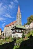 Parish church in Bad Gastein, Austria. The Parish Church in Bad Gastein, a famous health resort and also ski resort. Austria, Province of Salzburg, Europe stock photography