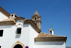 Parish church, Cabra. Parish of the Assumption church and tower, Cabra, Cordoba Province, Andalusia, Spain, Western Europe stock images