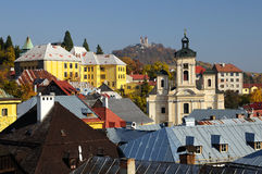 Parish church and Calvary in Banska Stiavnica Royalty Free Stock Photo