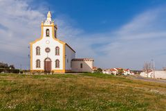 The parish church of Flor da Rosa. Where the knight Alvaro Goncalves Pereira was temporarily buried. Crato, Alto Alentejo, Portugal royalty free stock photography