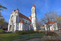 Parish church Hetzendorf (Rosenkranzkirche). Vienna, Austria. Old roman Catholic parish Church in city district Meidling royalty free stock images