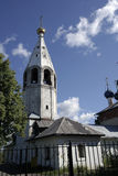 Parish Church of the Holy Ancestors of God Joachim and Anna. Bell tower and the existing buildings account for a few kilometers from the city Stock Photos