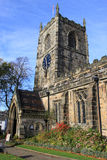 Parish Church of Holy Trinity Skipton, West Yorks. View of the front entrance and tower of the Parish Church of Holy Trinity in Skipton, West Yorkshire, England Stock Photos