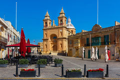 Parish Church of Our Lady in Marsaxlokk, Malta. Parish Church of Our Lady of Pompei on main square of Mediterranean fishing village Marsaxlokk, Malta Stock Images