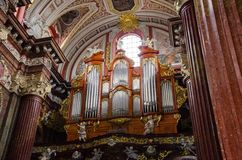 Parish church of Poznań and its organ. Parish church and its organ - Poznań, Poland Royalty Free Stock Photography