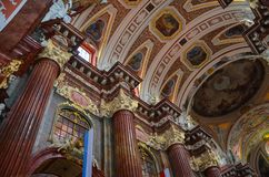Parish church of Poznań, Poland - ceiling. The collegiate church of the parish church district under the invocation of Our Lady of Perpetual Succour and St Mary Royalty Free Stock Image