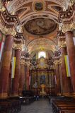 Parish church of Poznań, Poland - inside view. The collegiate church of the parish church district under the invocation of Our Lady of Perpetual Succour and St Royalty Free Stock Photo