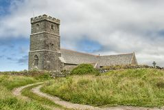 The Parish Church of Saint Materiana. At Tintagel, Cornwall, UK. Created in the late 11th or early 12th century. The first church on the site was probably in stock image