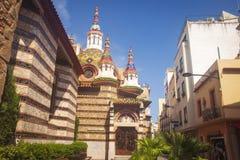 Parish church Sant Roma in Lloret de Mar town center. Costa Brava, Catalonia, Spain. Parish church Sant Roma in Lloret de Mar town center. Costa Brava royalty free stock images