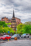 Parish Church of St Cuthbert and Edinburgh Castle Stock Images