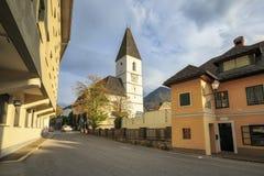 Church of St. Paul of the thirteenth century. Bad Aussee, Styria, Austria. Parish church of St. Paul of the thirteenth century, photographed on a Sunny autumn royalty free stock photos