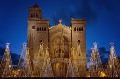 Parish Church of St Peter`s Chains in Birzebbuga, Malta. View of Parish Church of St Peter`s Chains in Birzebbuga, Malta with Christmas decorations and Lights on Royalty Free Stock Images
