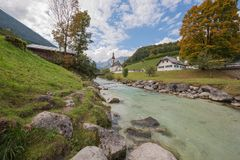 Parish church St. Sebastian. With the Reiter Alpe in background Stock Images