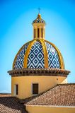 View at San Gennaro church with rounded roof in Vettica Maggiore Praiano, Italy stock photo