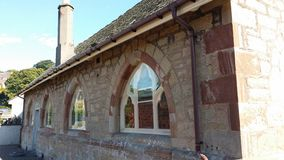 Parish hall windows Royalty Free Stock Photo