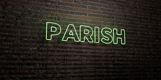 PARISH -Realistic Neon Sign on Brick Wall background - 3D rendered royalty free stock image Royalty Free Stock Images
