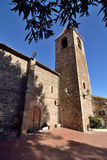 Parish of St. Genis dels Agudells. Church of St. Genis dels Agudells Romanesque restored at different times Stock Photos