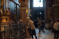 Parishioners in the church of St. Sophia Novgorod Stock Photo