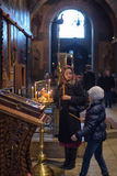 Parishioners in the church of St. Sophia Novgorod Stock Image