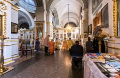 Free Parishioners In The Intercession Cathedral In Zverin Pokrovsky M Stock Photo - 111489340