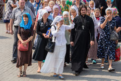 Parishioners Ukrainian Orthodox Church Moscow Patriarchate during religious procession. Kiev, Ukraine Stock Images