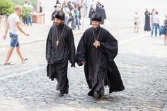 Parishioners Ukrainian Orthodox Church Moscow Patriarchate during religious procession. Kiev, Ukraine Royalty Free Stock Photo