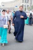 Parishioners Ukrainian Orthodox Church Moscow Patriarchate during religious procession. Kiev, Ukraine Stock Photos