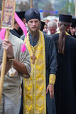Parishioners Ukrainian Orthodox Church Moscow Patriarchate during religious procession. Kiev, Ukraine Royalty Free Stock Images