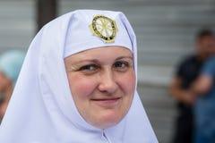 Parishioners Ukrainian Orthodox Church Moscow Patriarchate during religious procession. Kiev, Ukraine Royalty Free Stock Image