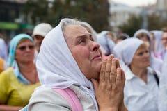 Parishioners Ukrainian Orthodox Church Moscow Patriarchate during religious procession. Kiev, Ukraine Stock Photo