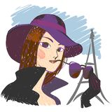 Parisian. Elegant mysterious girl in a hat, against the background of the Eiffel Tower Royalty Free Stock Images